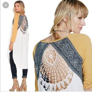 Free People road trip tee tunic metallic crochet